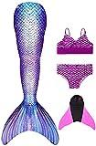 Decool Cola de Sirena Traje de Baño Sirena de Las Muchachas Bikini 4pcs Set, Princesa Cosplay Conjunto con Cola de Sirena Monofín