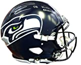 Signed Russell Wilson Autographed Seattle Seahawks Authentic Super Bowl Speed Riddell Football Helmet SB XLVIII Champs In Silver RW Holo Stock #74640