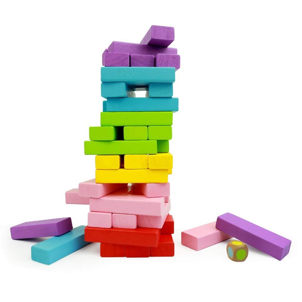 ZPWHOME Torre de Madera Coloreada Juego de Apilamiento de Bloques de Madera Edificio Divertido de Educación Infantil Juegos Familiares de Bloques - (51 Piezas): Amazon.es: Hogar