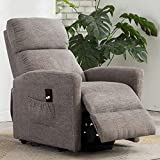 Power Lift Recliner Chair for Elderly - Bonzy Home Fabric Reclining Chair with Remote Control Electric Lift Recliner Chair for Living Room - Heavy Duty and Safety Reclining Mechanism (Grey)