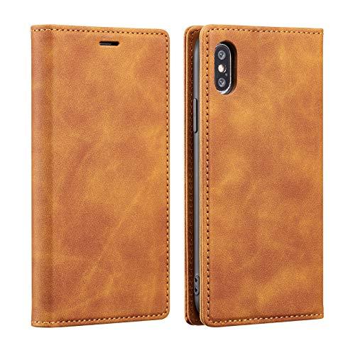 ZCDAYE Funda tipo cartera para iPhone XR, magnética de piel sintética de poliuretano termoplástico suave con ranuras para tarjetas, soporte para iPhone XR-marrón