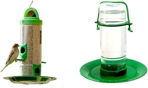 Amijivdaya Transparent, Green Medium Bird and Water Feeder Combo