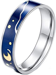 PAURO Couples Men's Stainless Steel Van Gogh's Sky Ring Romantic Promise Band