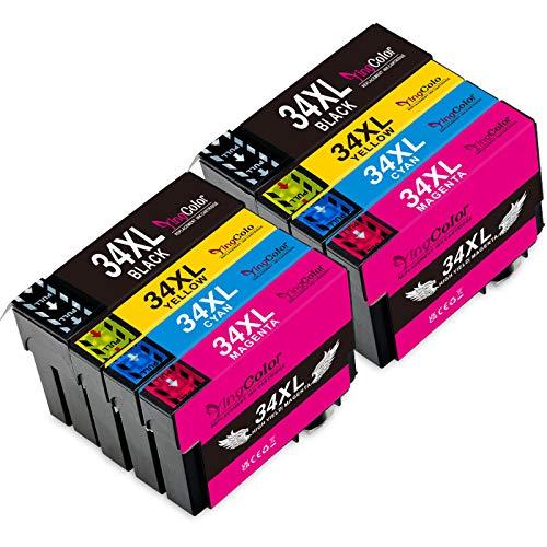 YingColor 34XL - Cartuchos de tinta para Epson 34 XL (compatible con Epson Workforce Pro WF 3725DWF WF3720DWF (8 unidades), color negro y cian, magenta y amarillo