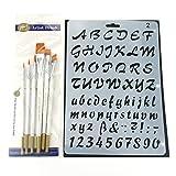 7pcs Pochoirs et 6pcs Ensemble de pinceaux, kit de modèle de peinture pour le scrapbooking Craft artistes
