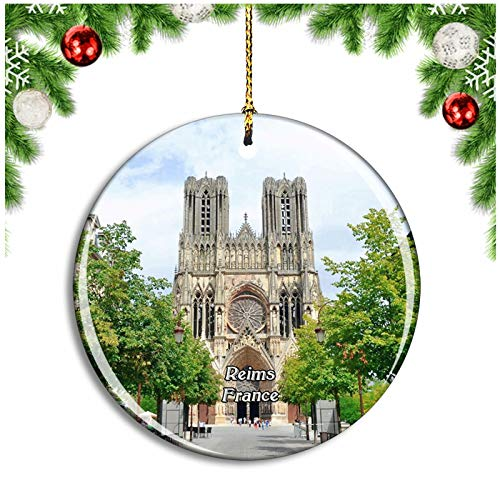 Weekino Reims France Cathedrale Notre-Dame Christmas Ornament Xmas Tree Decoration Hanging Pendant Travel Souvenir Collection Double Sided Porcelain 2.85 Inch