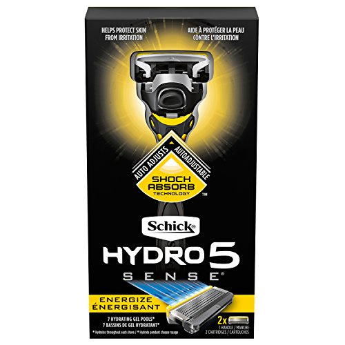 Schick Hydro 5 Sense Energize Razor with Shock Absorb Technology for Men, 1 Handle with 2 Refills