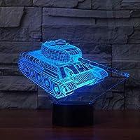 3Dイリュージョンナイトライト タンク3Dナイトライトタッチベース7色変更LEDテーブルランプ3Dビジュアル家の装飾雰囲気ランプ子供のおもちゃギフト