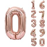 Rosegold Luftballon Zahlen, Number 0 Folienballon Riesenzahl Zahlenballon 40 inch für Geburtstag, Hochzeit , Jubiläum Party Dekoration
