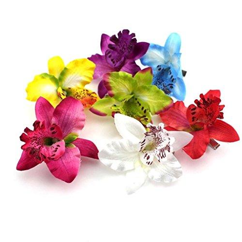 Naisicantar - Broche, barrette ou pince à cheveux en forme d'orchidée léopard - En tissu - Jaune, bleu, violet