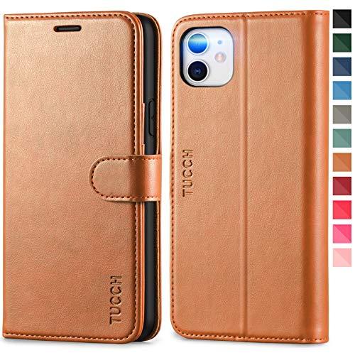 TUCCH iPhone 11 Hülle, iPhone 11 Klapphülle, [Verdicktes TPU] [RFID Schützt] [Kartenfächer] [Standfunktion] [Magnet], Stoßfeste Schutzhülle, Cover für iPhone 11 (6,1 Zoll) Braun