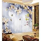 Style Chinois 3D Rideau Lune Papillon Arbre Branche Motif Rideau Chambre Cuisine Rideau wide220cm high180cm