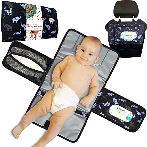 Fridaybaby Portable Diaper Changing Pad – Use One Handed - Slim and Easy to Clean Waterproof Diaper Clutch w/Pockets for Wipes and Diapers - Baby Elephant Design - Travel Changing Mat for Diaper Bag