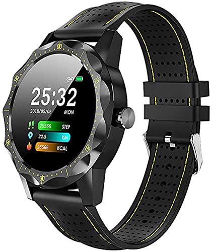 Reloj inteligente IP68 impermeable ritmo cardíaco presión arterial actividad fitness Tracker-Yellow_One Size