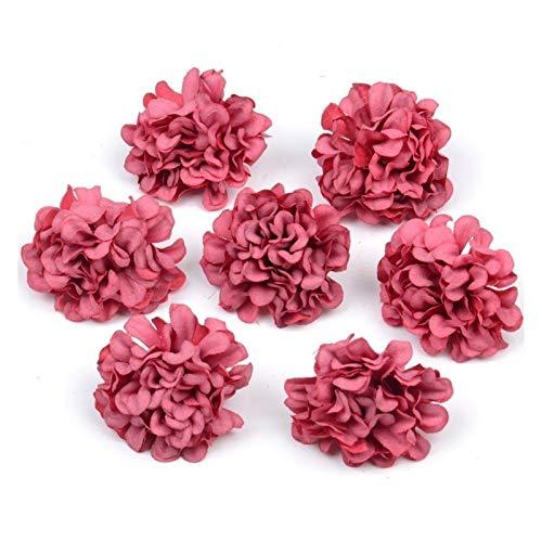 HETHYAN Flores artificiales de seda con cabeza de hortensias para decoración de boda, corona de manualidades, manualidades, 50 unidades (color: rojo vino)