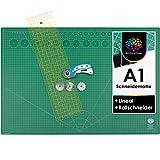 OfficeTree Set Tappetino da Taglio - 90x60 cm (A1) Verde + taglierina Circolare + Righello da 60x16 cm - qualità Premium - per lavori di Taglio Professionali