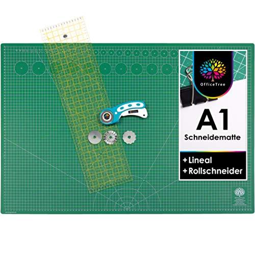 OfficeTree® Set Tappetino da Taglio - 90x60 cm (A1) Verde + taglierina Circolare + Righello da 60x16 cm - qualità Premium - per lavori di Taglio Professionali