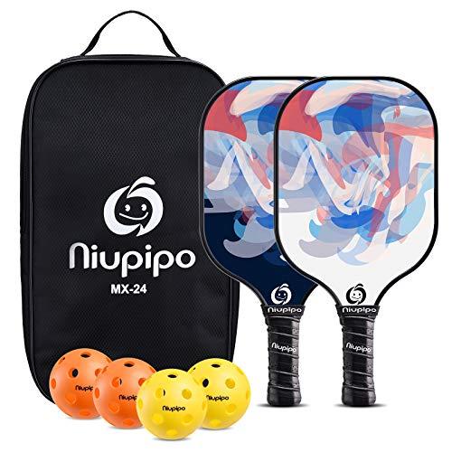 niupipo Pickleball Paddles, Pickleball Paddle Set of 2, Fiberglass Surface, Polypropylene Honeycomb Core, Cushion Grip, Lightweight Pickleball, Portable Carry Bag, Blue