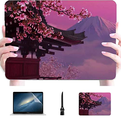 MacBook Air Covers Japan Pink Cherry Blossom Mount Fuji Plastic Hard Shell Compatible Mac Air 13' Pro 13'/16' MacBook Air 1466 Case Protective Cover for MacBook 2016-2020 Version