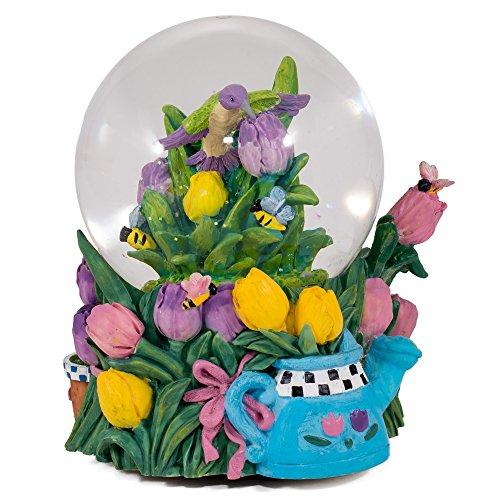 Cadona Hummingbird Bumble Bees Tulip Garden Glass Musical Snow Globe Plays Song in The Garden
