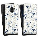 DeinDesign Flip Hülle kompatibel mit Samsung Galaxy A8 Duos 2018 Tasche Schwarz Hülle Muster Blume Blumen