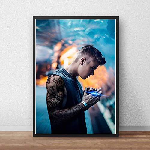 yitiantulong Justin Bieber Poster Leinwand Benutzerdefinierte Poster Sänger Musik Poster Drucke Wandkunst Kunst Leinwand Bar Cafe Wohnzimmer Dekor Geschenk A-3420 (50X70Cm) Ohne Rahmen