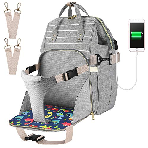 Wickeltasche Rucksack, Baby Wickeltasche, Ceekii Rucksack Babyrucksack mit Multifunktional Kindersitz Wasserdicht Babytasche und USB-Lade Port Wickelrucksack (Grau gestreift)