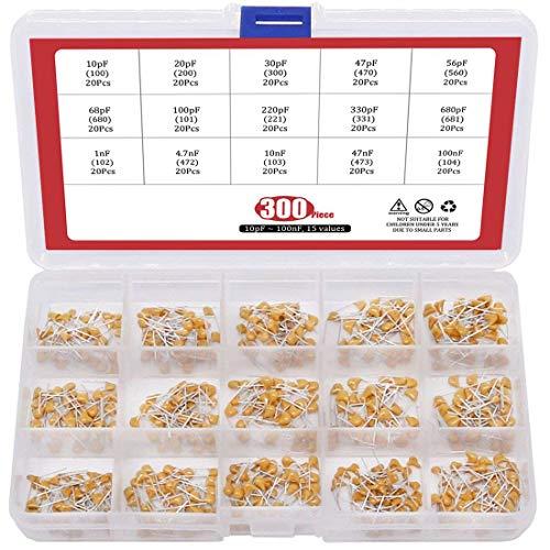 ARCELI [10pF a 100nF 15Values Kit de Surtido de condensadores de Chip de cerámica de múltiples Capas monolítico Dip - 300pcs (Electrónica)