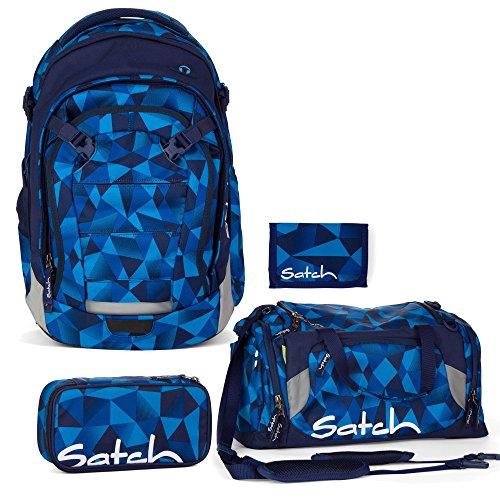 Satch MATCH by Ergobag Blue Crush 4-tlg. Set Schulrucksack + Sporttasche + Schlamperbox inkl. Geodreieck + Geldbeutel