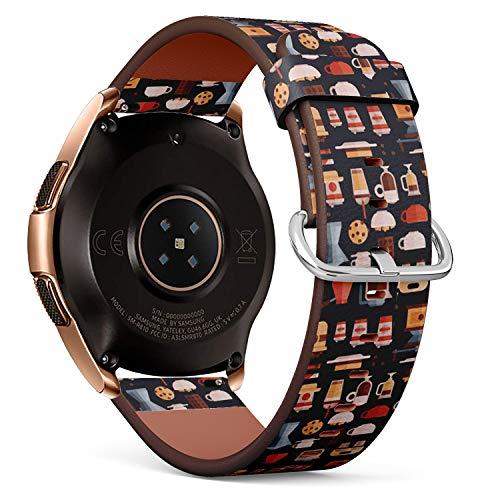 Art-Strap Kompatibel mit Samsung Galaxy Watch (42mm) - Leder-Armband Uhrenarmband Ersatzarmbänder mit Schnellverschluss (Kaffee-Kaffeemaschinen-Kaffeetassen)