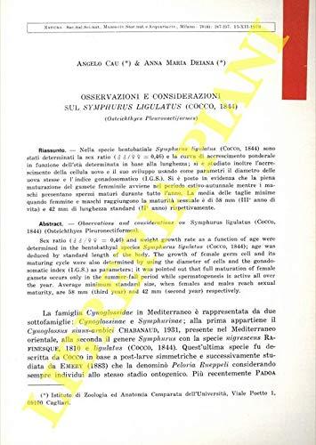 Osservazioni e considerazioni sul Symphurus ligulatus (Cocco, 1844) (Osteichtthyes Pleuronectiformes) .