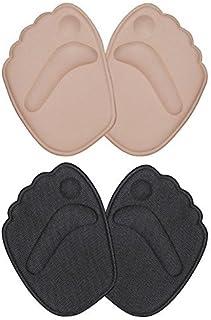 Doact Plantillas de Zapatos con Tacón Alto (2 pares) Proteger los Pies,Medio plantilla para Alivio el Dolor en el Antepié(35-40EU) (Beige + Negro)