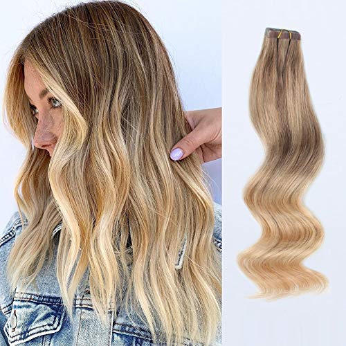 ABH AMAZINGBEAUTY 20 Pieces Remy Human Hair Invisible Sun-kissed Balayage Tape in Hair Extensions - Ash Brown Fading into Dirty blonde with Platinum Blonde Highlights B8-18-60, 18 Inch