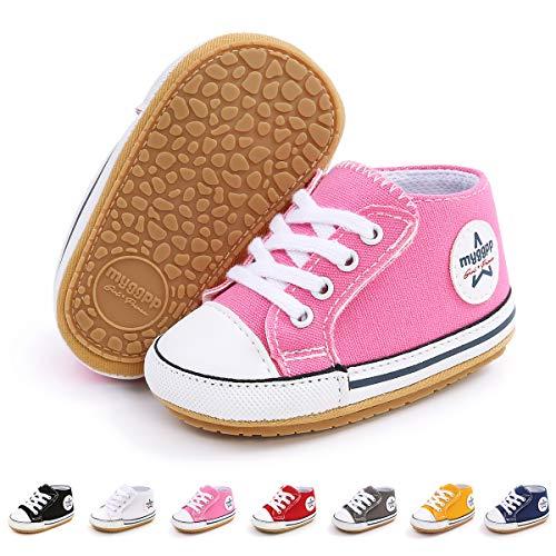 BEBARFER Baby Boys Girls Shoes tênis de lona antiderrapante sola ajustável gancho e laço para recém-nascido primeiro andador sapatos de berço, I/Pink, 0-6 Months Infant