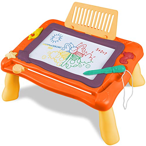 STREET WALK Magnetic Drawing Board Toy for Kids, Education Doodle Toys for Toddlers Learning, Colorful Erasable Magnet Writing Sketching Pad for 2 3 4 5 6 Year Old Boys Girls(Orange)