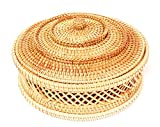 Vietnamese Large Round Hand-woven Rattan Bowls With Straps. Natural Rattan Storage Baskets. Multipurpose Round Rattan Bowls. Natural Brown Round Basket