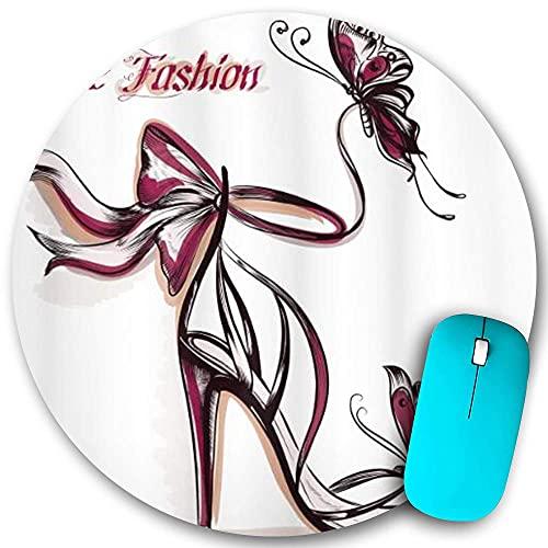 Alfombrilla de ratón redonda, zapatos de tacón alto con adornos de mariposa y cinta Be Grace, base de goma antideslizante, alfombrillas de ratón de oficina en casa, pequeñas de 7,9 x 7,9 pulgadas para