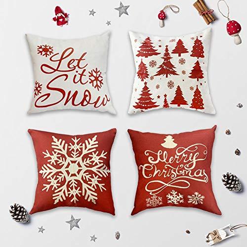 Synchain 4er Set Weihnachten Kissenbezüge werfen 45 x 45 cm Dekorativer Kissenbezug Indoor Outdoor Home Dekoration Schneeflocke Leinen Kissen Quadrat Kissenbezug für Sofa, Couch, Bett und Auto