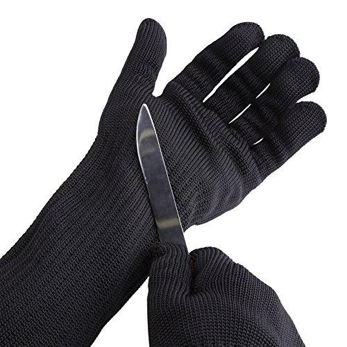 Handschuhe aus Edelstahldraht, schnittfest, Schutzstufe 5, mit langen Manschetten, Handgelenkschutz