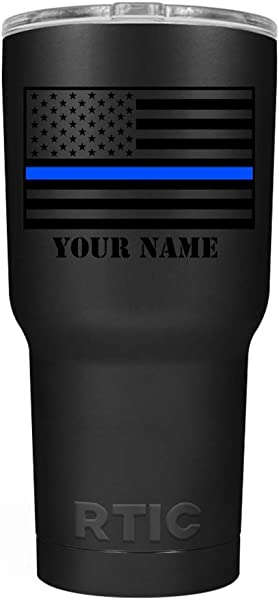 Personalized Thin Blue Line Flag 30 Oz Stainless Steel Police Tumbler