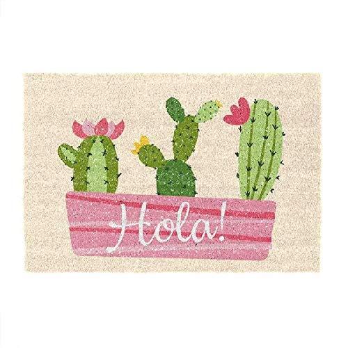 D'CASA DCASA Antideslizante Hola Cactus Referencia DC Felpudos Textiles del hogar Unisex Adulto, Multicolor (Multicolor), única
