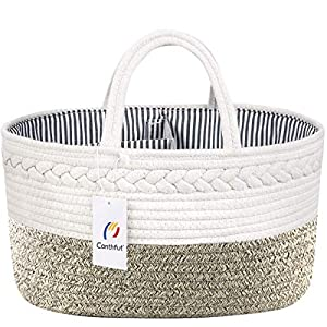 Conthfut Baby Diaper Caddy Organizer 100% Cotton Canvas Stylish Rope Nursery Storage Bin Portable Tote Bag & Car Organizer for Changing Table – Top Baby Shower Basket