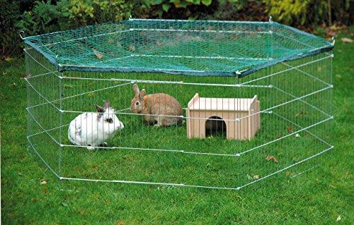 dobar 80605 Großes Kaninchengehege aus 6 Elementen, mit Nylon Netz und Holzhaus, XXL Freilauf für Hasen, Freilaufgehege XL, 165 x 145 x 60 cm, Silber - 8