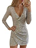 DUBACH Women Fashion V-Neck Surplice Wrap Ruched Sequins Bodycon Dress S Silver