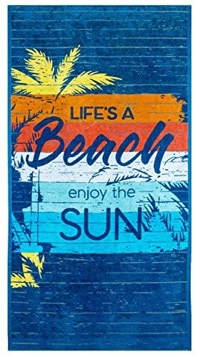 Lashuma Toalla de playa XXL azul Enjoy The Sun, toalla de baño multicolor de terciopelo, toalla de playa, 180 x 90 cm, gran toalla de algodón