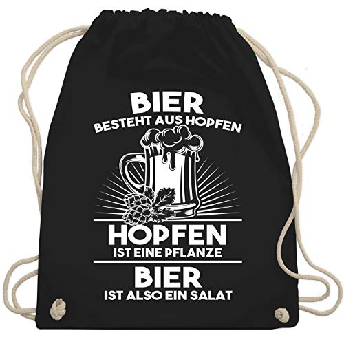 Shirtracer Sprüche - Hopfen ist eine Pflanze Bier ist Salat - Unisize - Schwarz - hopfen pflanze - WM110 - Turnbeutel und Stoffbeutel aus Baumwolle