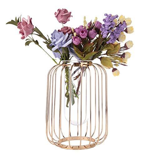 IJzeren bloemenvaas nordic smeedijzeren lantaarn nordic lantaarnvormige smeedijzeren vaas glazen ijzeren tafelblad bloemenvaas voor thuisfeest(Champagne goud)
