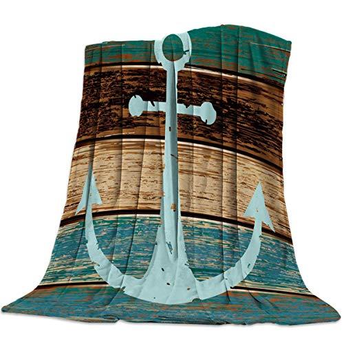 Manta de Tiro de Franela Anclas náuticas Madera rústica Manta de Cama de vellón Ligero Textura Vintage Manta Suave y cálida Sofá/sofá/Silla para Todas Las Estaciones