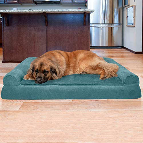 Furhaven Pet Dog Bed – Orthopedic Ultra Plush Faux Fur and Suede Traditional Sofa-Style Living Room Couch Pet Bed with Removable Cover for Dogs
