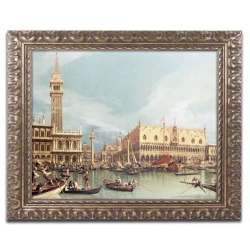 The Molo Venice Canvas Art by Canaletto, 16 by 20-Inch, Gold Ornate Frame